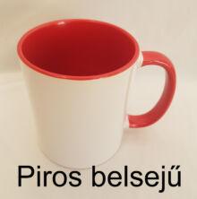 piros belsejű és fülű kerámia bögre